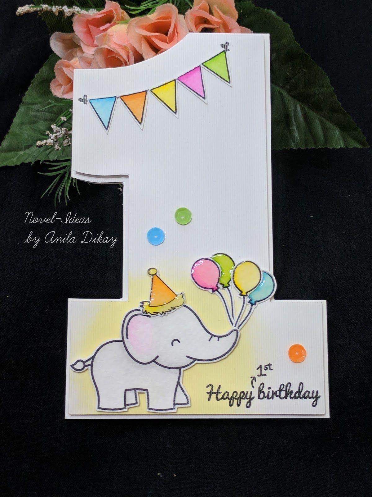 Novel Ideas Happy 1st Birthday Math Challenge 1st Birthday Cards Birthday Card Drawing First Birthday Cards