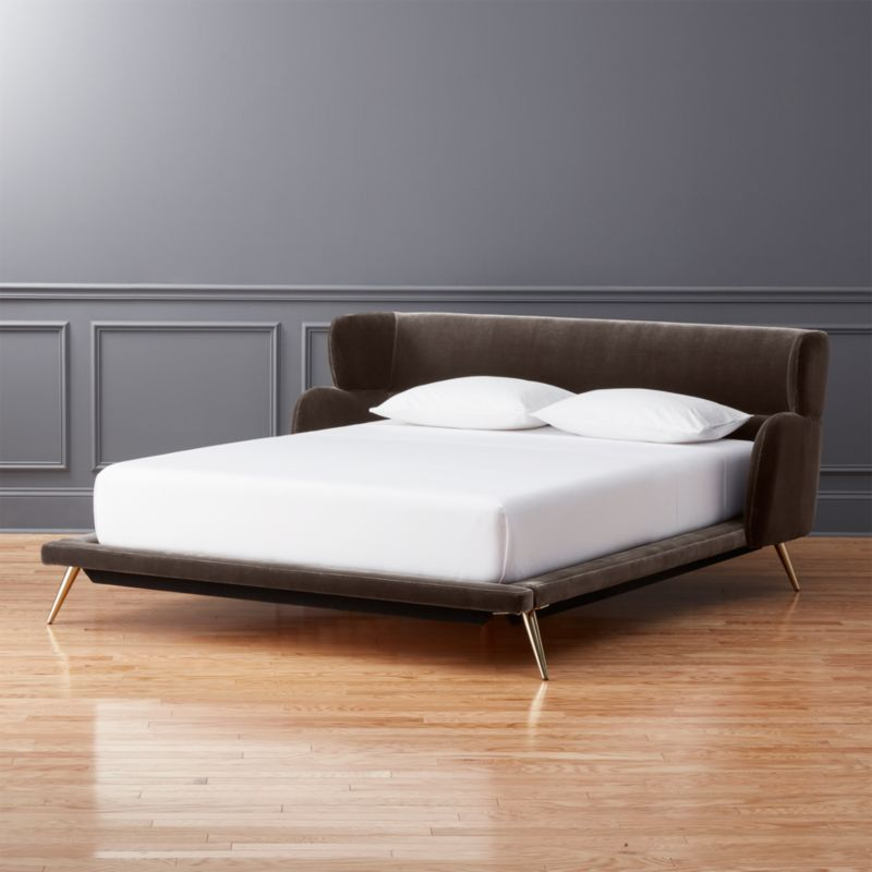 Shop Lunar Velvet Queen Bed Wrap Around Headboard With Rounded