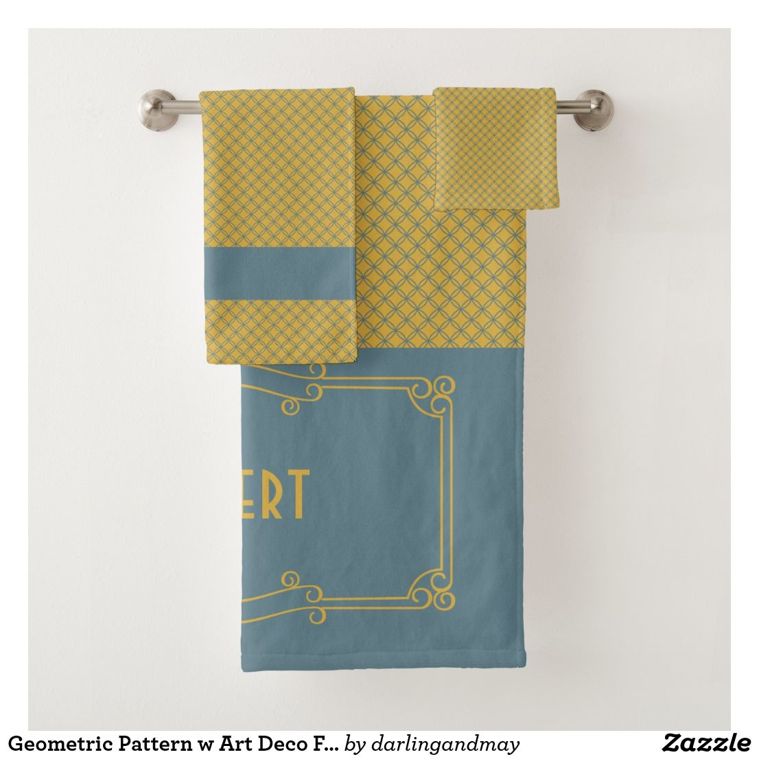 Geometric Pattern W Art Deco Frame Blue Yellow Bath Towel Set
