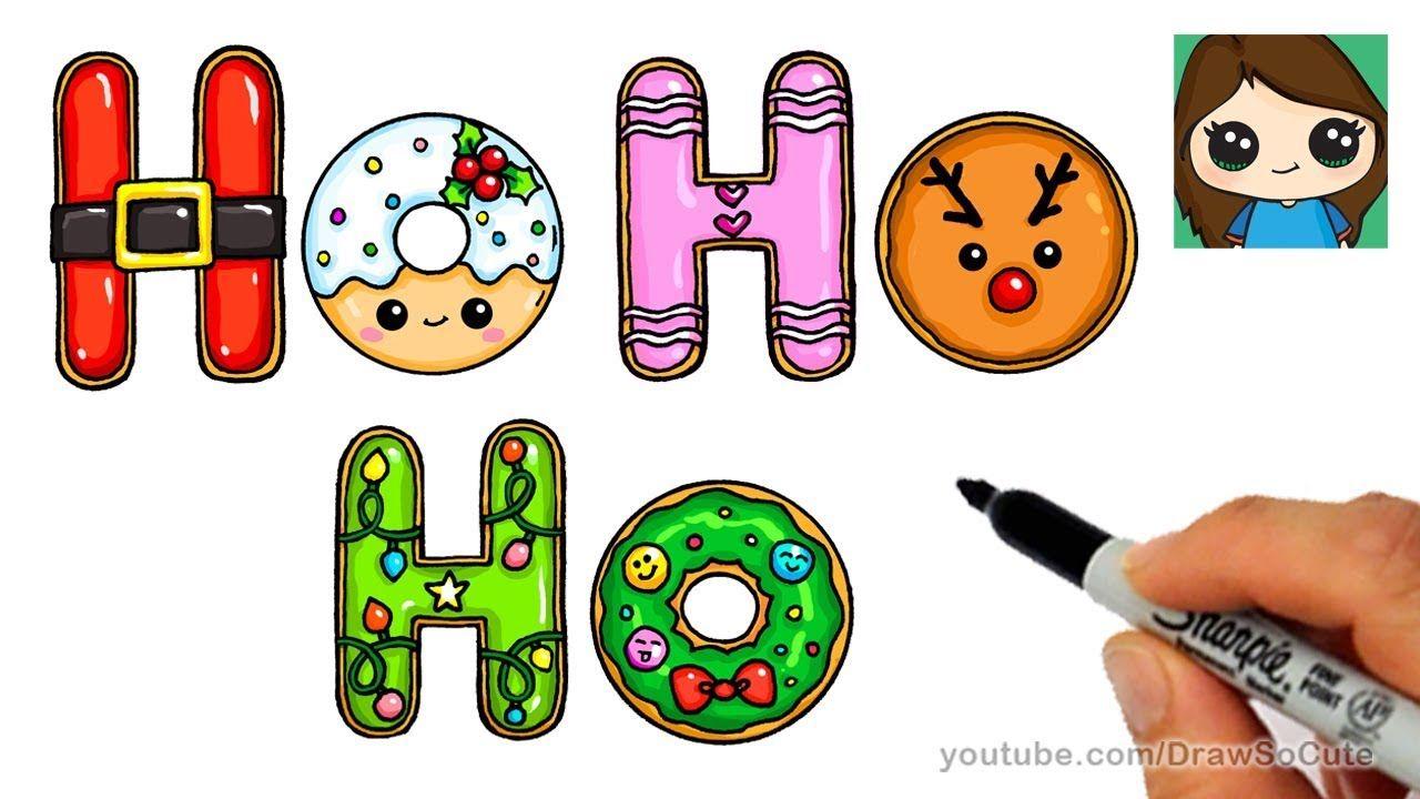 How To Draw Christmas Ho Ho Ho Cookies Easy And Cute Youtube