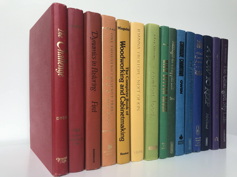 Decorative Book Set in Rainbow Multicolor Spectrum for