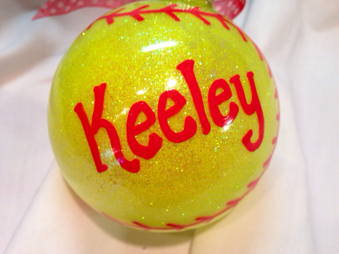 Softball Christmas Ornament, Hand Painted, Personalized Ornament ...