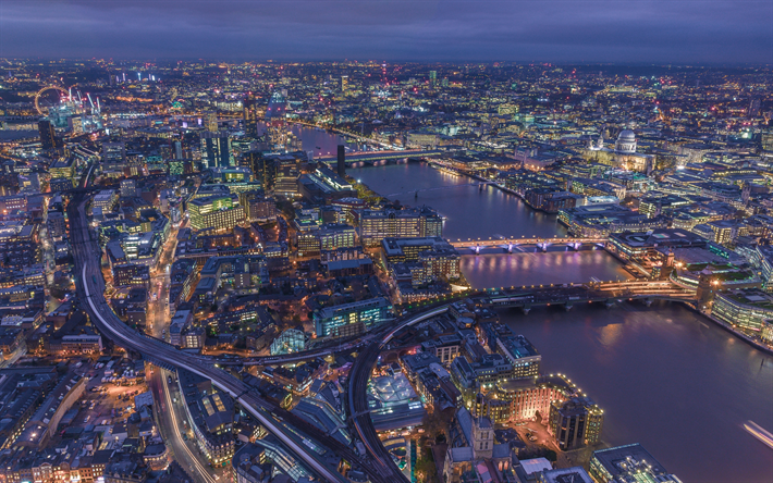 Download wallpapers London, 4k, nightscapes, United