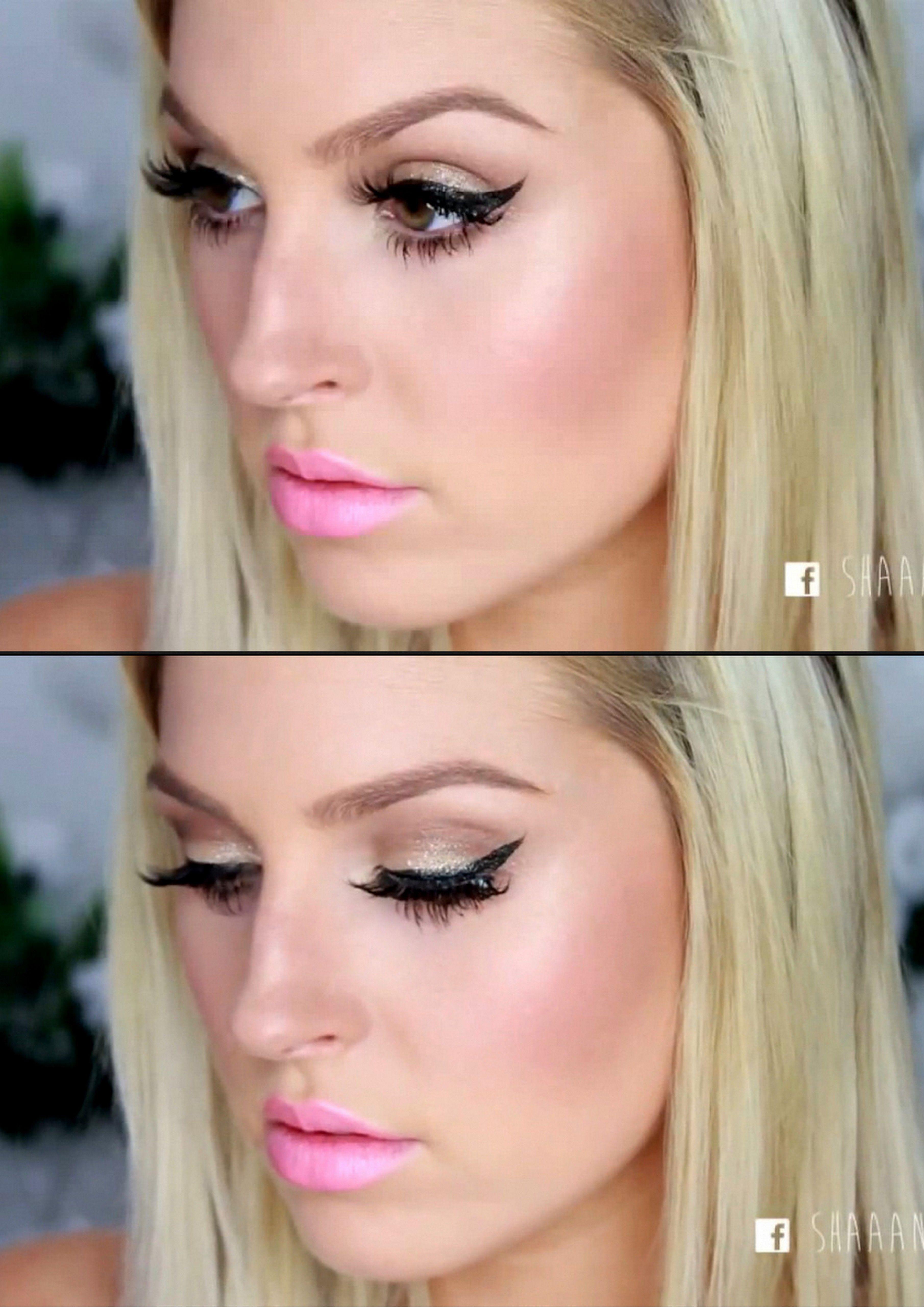 girly clubbing makeup xoshaaan winged eyeliner, pink