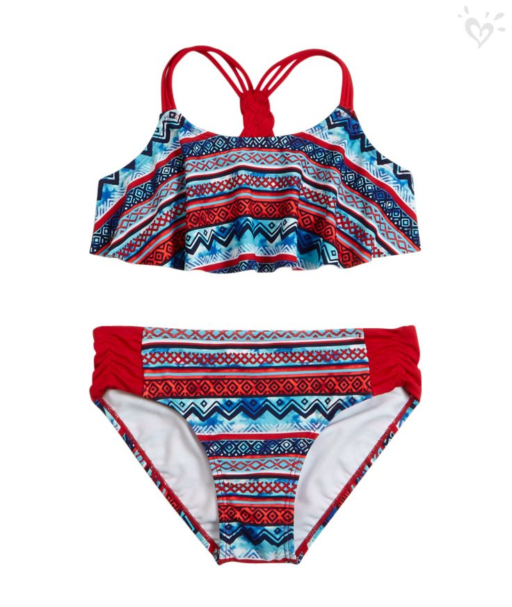This pretty print flounce bikini is a must pack for your travel bag justice style badeanzug for Travel swimsuit