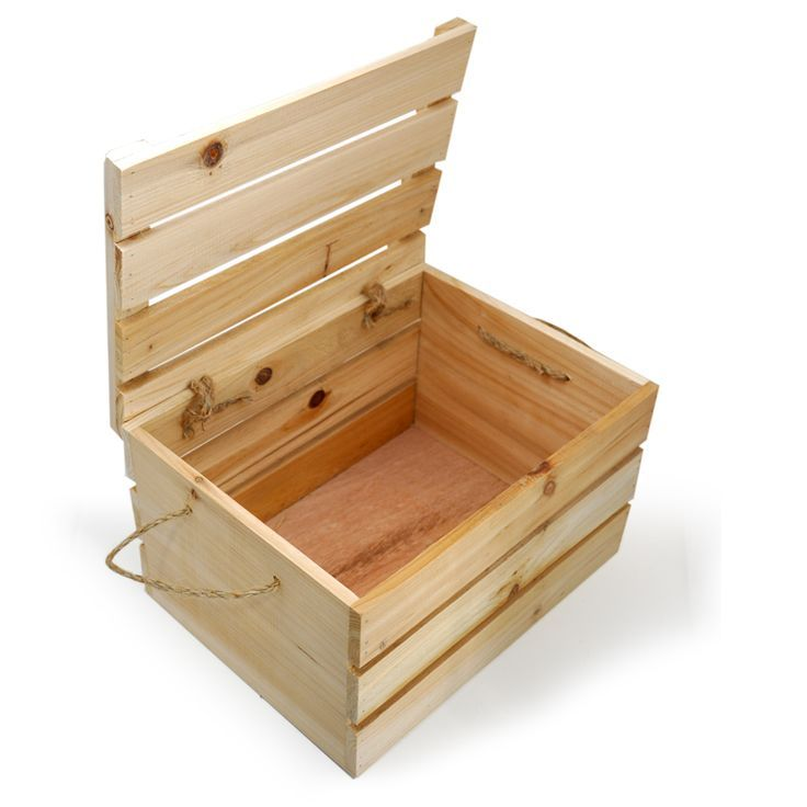 Natural Wooden Crate Storage Box With Lid Medium Would