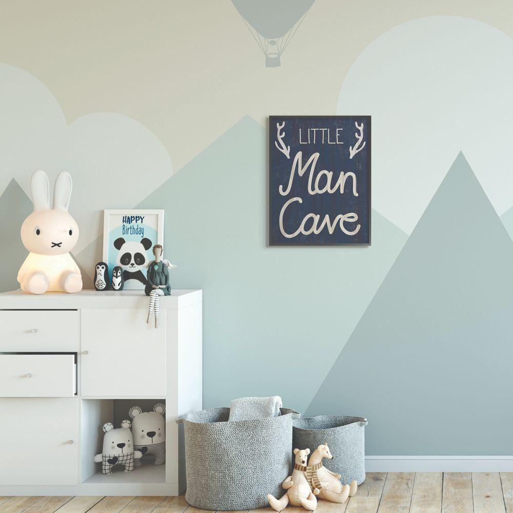 The Kids Room By Stupell 16 In X 20 In Kids Little Man Cave Word Boys Blue Nursery By Daphne Polselli Framed Wall Art Multi Colored Kids Wall Decor Framed Wall Art