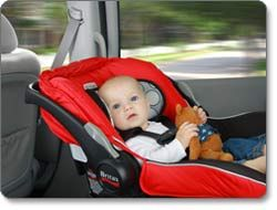 A rear-facing car seat, properly installed! This is a BRITAX B-SAFE ...