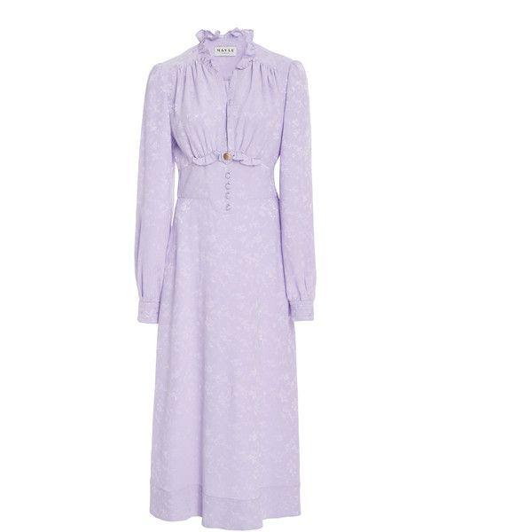 Maison Mayle Domatilla Midi Dress (2.650 BRL) ❤ liked on Polyvore featuring dresses, purple, midi dress, longsleeve dress, calf length dresses, long sleeve mid calf dress and long sleeve day dresses