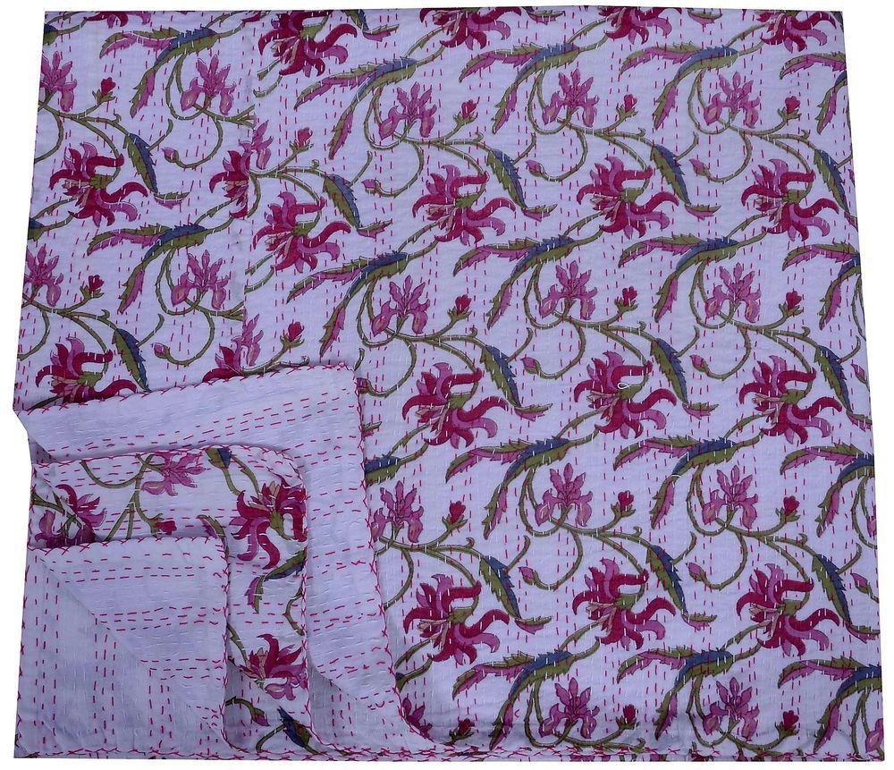 Indian Cotton Fabric Kantha Quilt Throw Handmade
