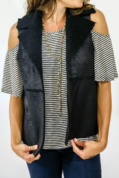Great vest to wear over a cold shoulder tee and pair with leggings and booties - Jack by BB Faux Shearling Black Vest