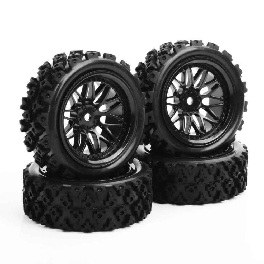4 개/대 고무 타이어 휠 12 미리메터 육각 랠리 레이싱 1/10 RC 오프로드 자동차 차량 타이어 타이어 & 휠 림 PP0487 + BBNK 재고 전자