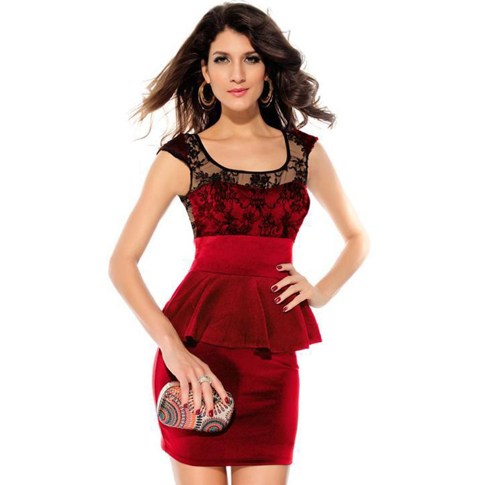 Hot sale women top fashion elegant work wear lace pushup oneck