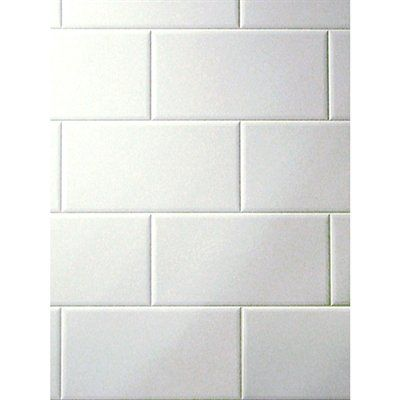 White subway tile style DPI bath tileboard wall panel - Metroliner ...