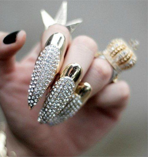 snails nail jewelry Silver Sharp claws long claw ring Punk