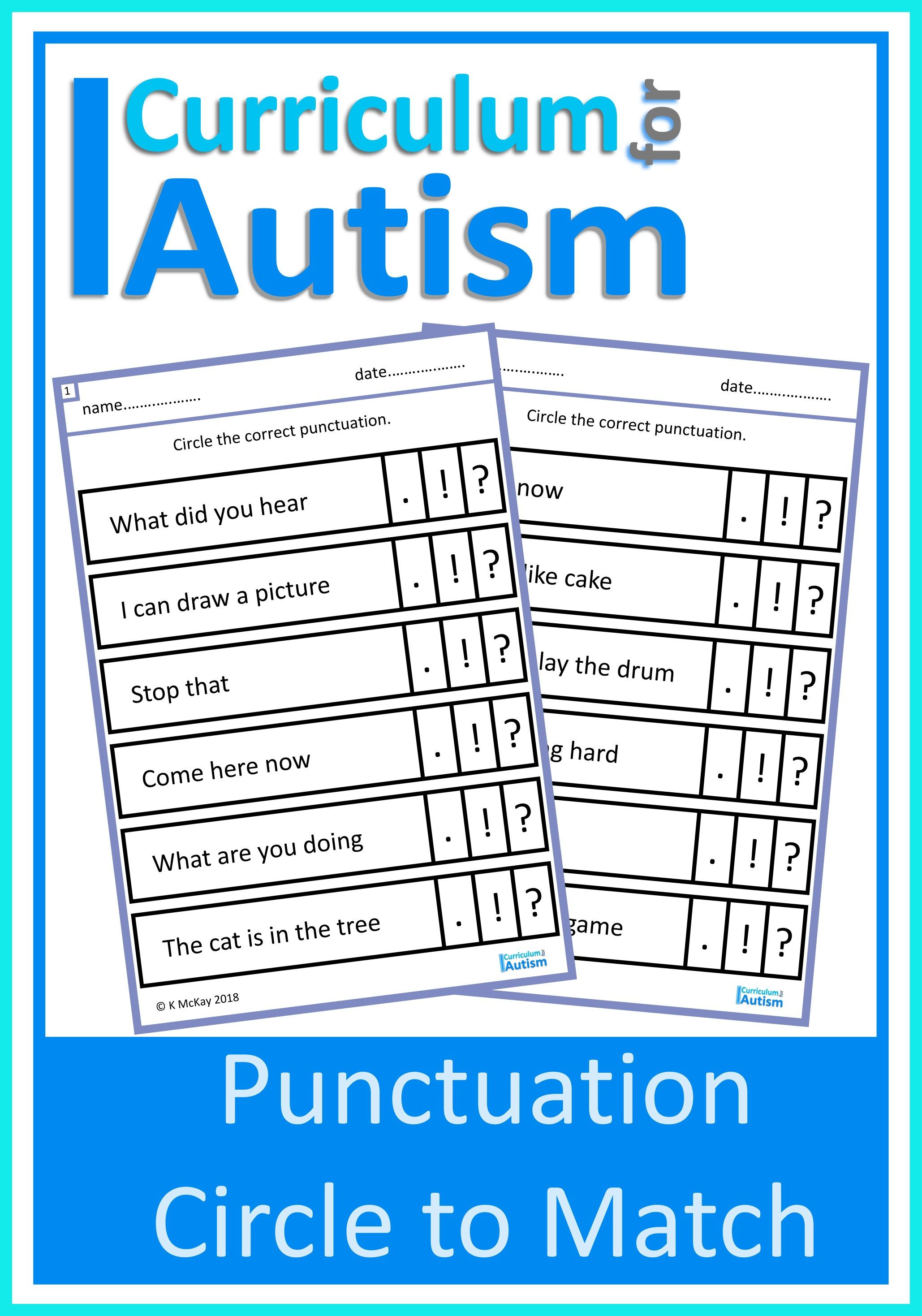Punctuation Match Worksheets