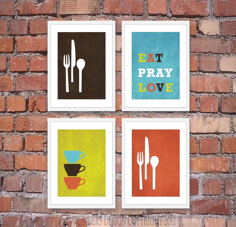 Modern Kitchen Wall Art Print Set Inspirational Eat Pray Love 4 5 X 7 Prints Brown Blue Lime Kitchen Wall Art Modern Kitchen Wall Art Modern Kitchen Art