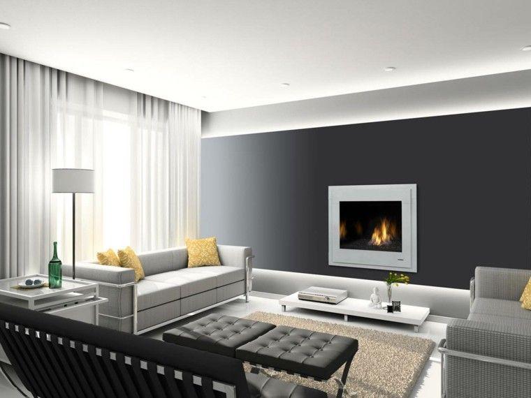 diseño chimeneas modernas lampara asientos cortinas Interiores con - chimeneas modernas