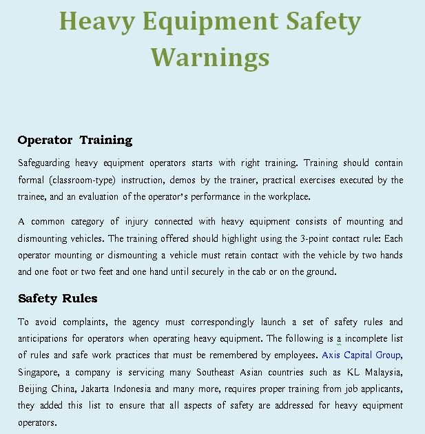 Safeguarding heavy equipment operators starts with right training - equipment lease form