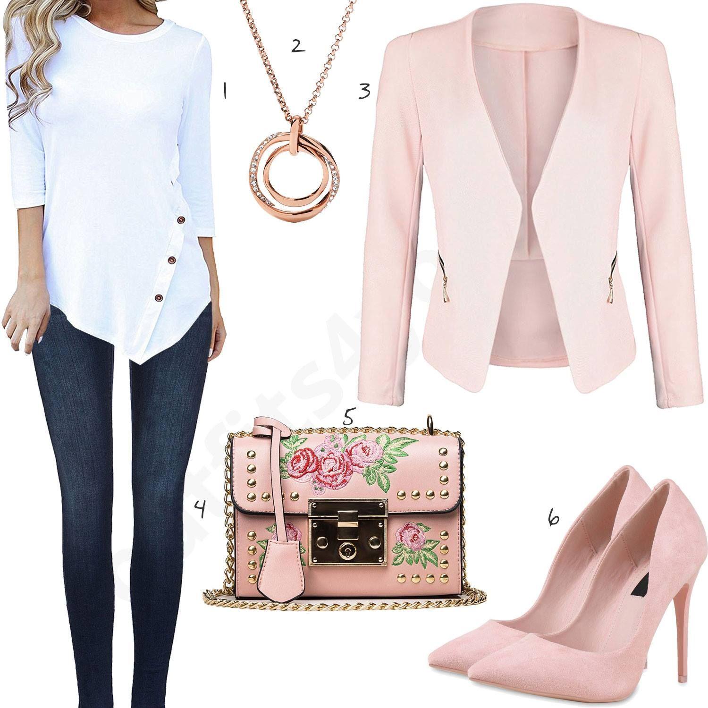 Elegantes Damenoutfit Mit Weisser Bluse Und Rosa Blazer Outfits4you De Clothes For Women Blazer Outfits Fashion