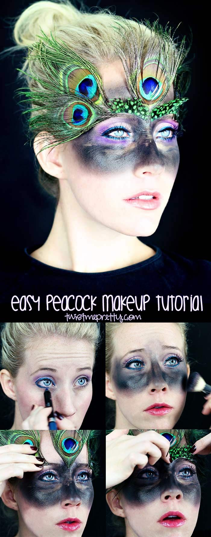 Easy Peacock Makeup Tutorial Animal makeup, Peacock