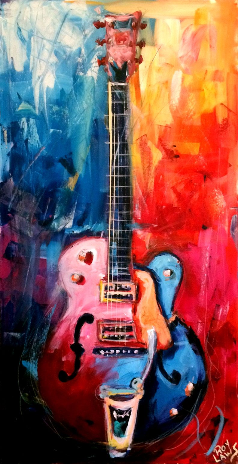 Gretsch White Falcon. This was painted live at a RAW Artist Show in ...