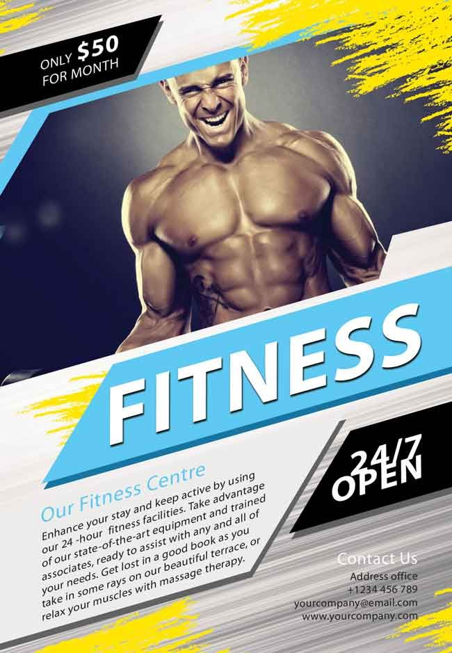 fitness brochure template fitness flyer template 32 free psd format