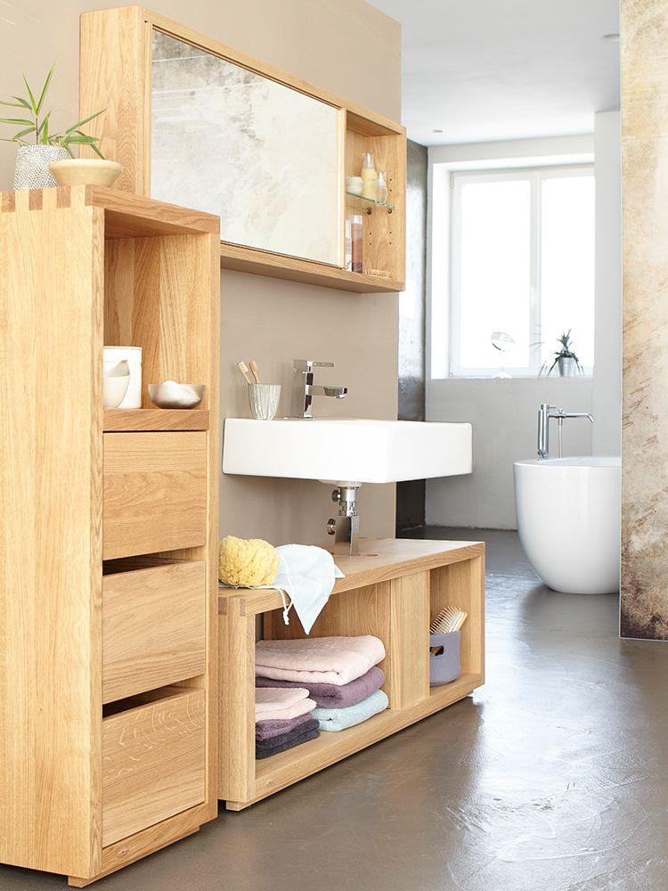 Badezimmerschrank Simply Oak Niedrig Mit 3 Laden Und Einem Fach 42x42x122 Cm Eiche Hochschrank Badezimmer Schrank