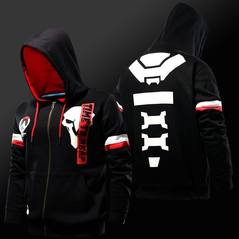 COOL Overwatch OW Reaper Cosplay Jacket Black Zip Sweatshirt Hoodie Costum Coat