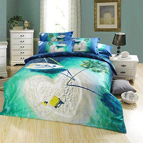 Beach Theme Bedding Queen Size Set Duvet Cover 100 Percent Cotton 5pcs