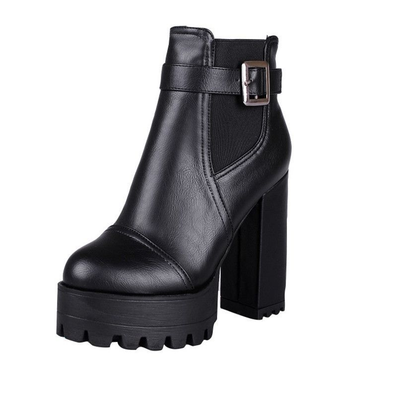 thick heel ankle boots sexy autumn winter boots women high heel leather shoes woman boots 2015 buckle big plus size botte femme