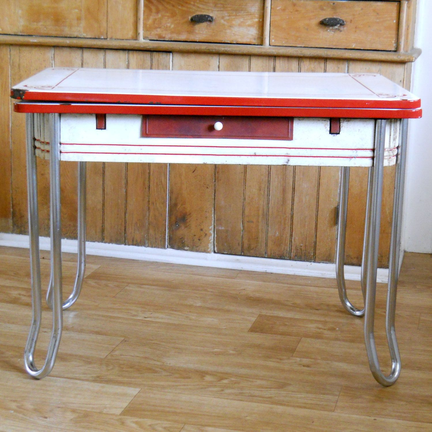 Vintage enamel top table red and white metal chrome and enamel table kitchen table slide out - Retro chrome kitchen table ...