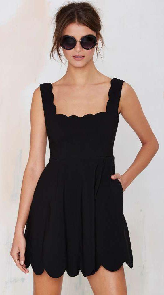 Black dress woman outside