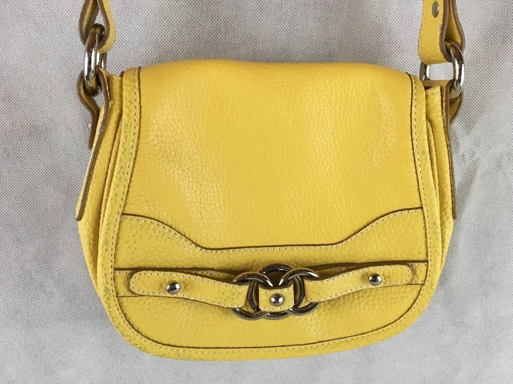 Wilsons Leather Genuine Shoulder Bag Purse Yellow Handbag
