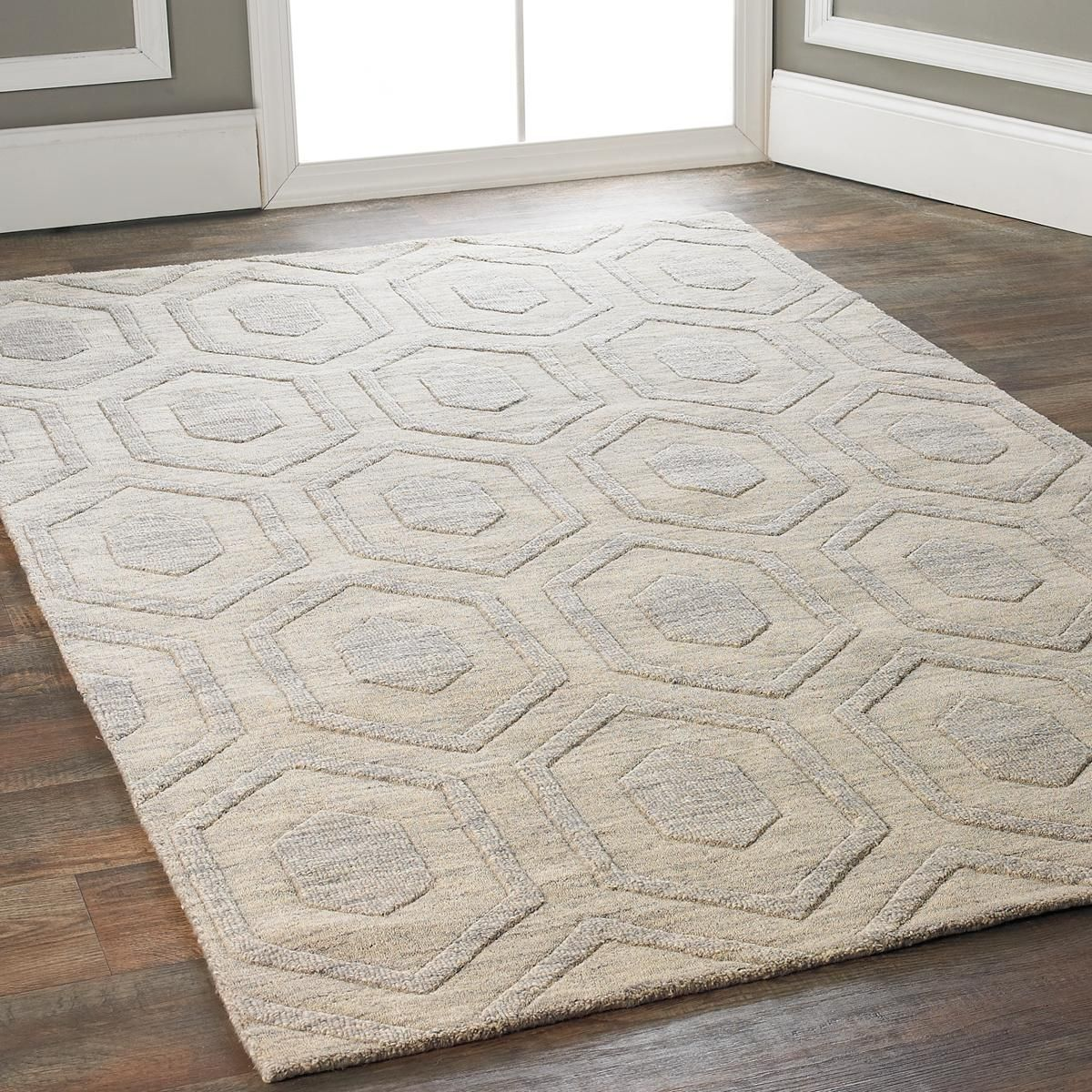 Hexagon hues solid color rug taupe stone and modern for What does taupe mean
