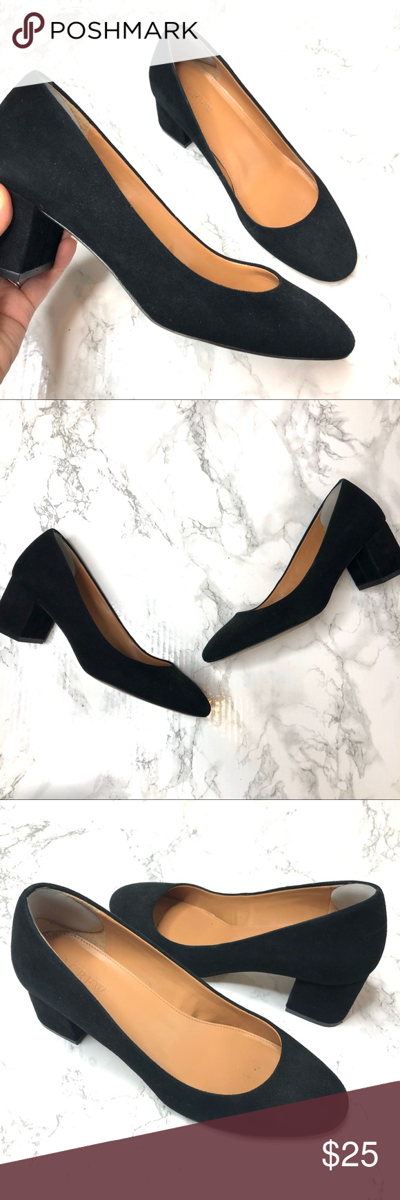 J Crew Factory Kitten Pointed Toe Black Suede Heel Heels Black Suede Heels Black Suede