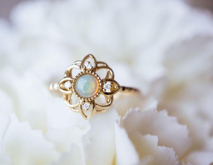 b6edb8a668c6e5 14K 18K Gold Fire Opal Flower ring diamond Engagement Promise Ring Rose white  gold Platinum wedding