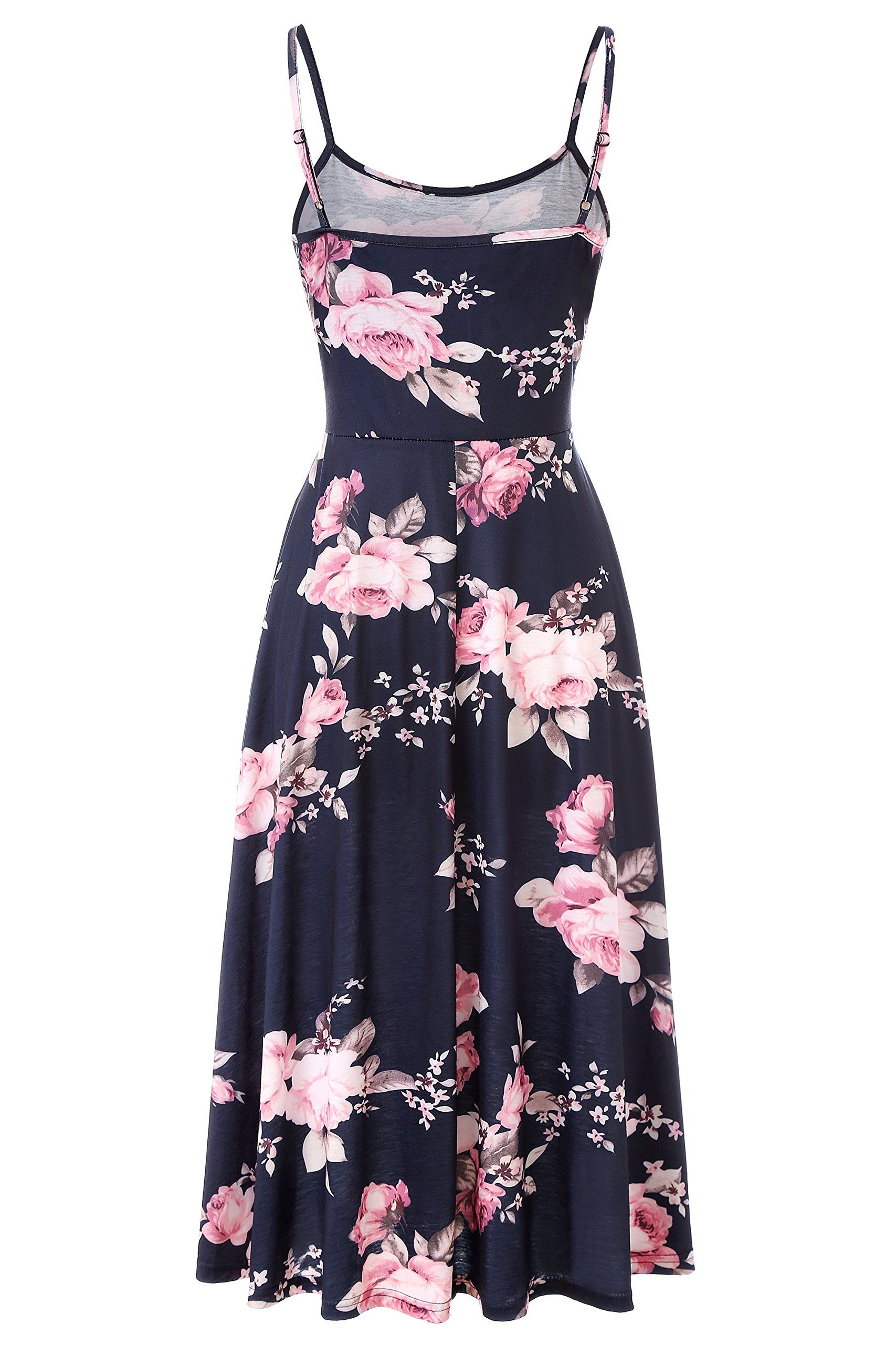 a41c91b6eb Viracy Fit and Flare Dress Womens Adjustable Spaghetti Strap Sleeveless Skater  Dresses Floral Pattern Flared Flattering