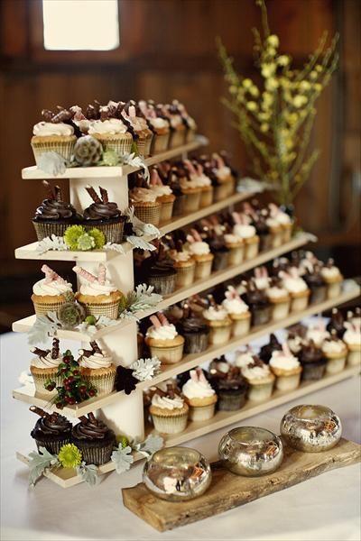 Beautiful Wedding Cupcake Display Made With Cascading Wooden Shelves Weddingcupcakes Cupcakes