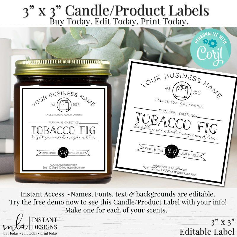 3 Inch Square Labels, Candle Labels, Product Labels