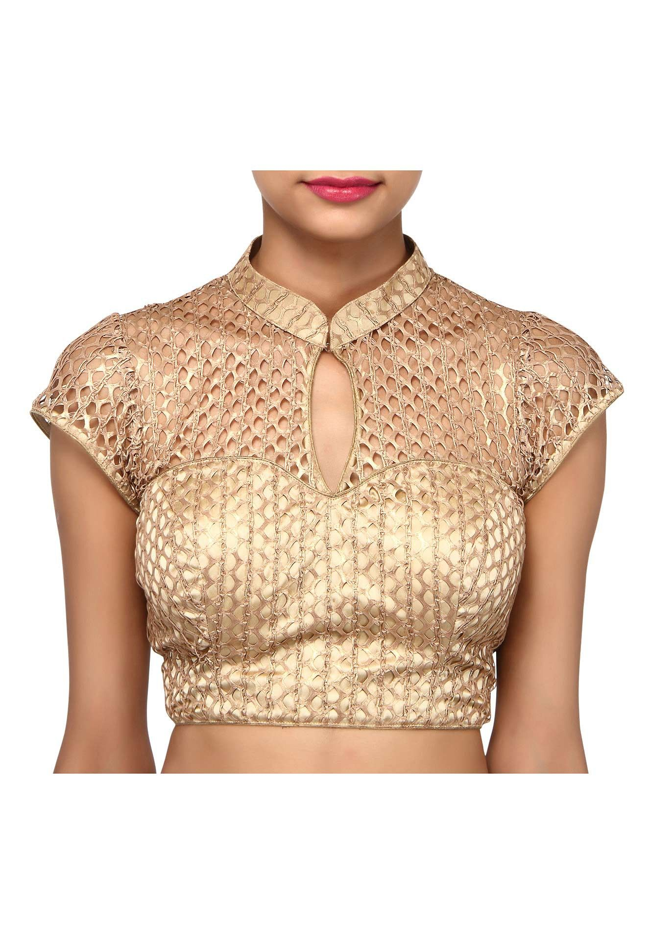 f660fb488cddc Gold blouse features with fancy lace only on Kalki