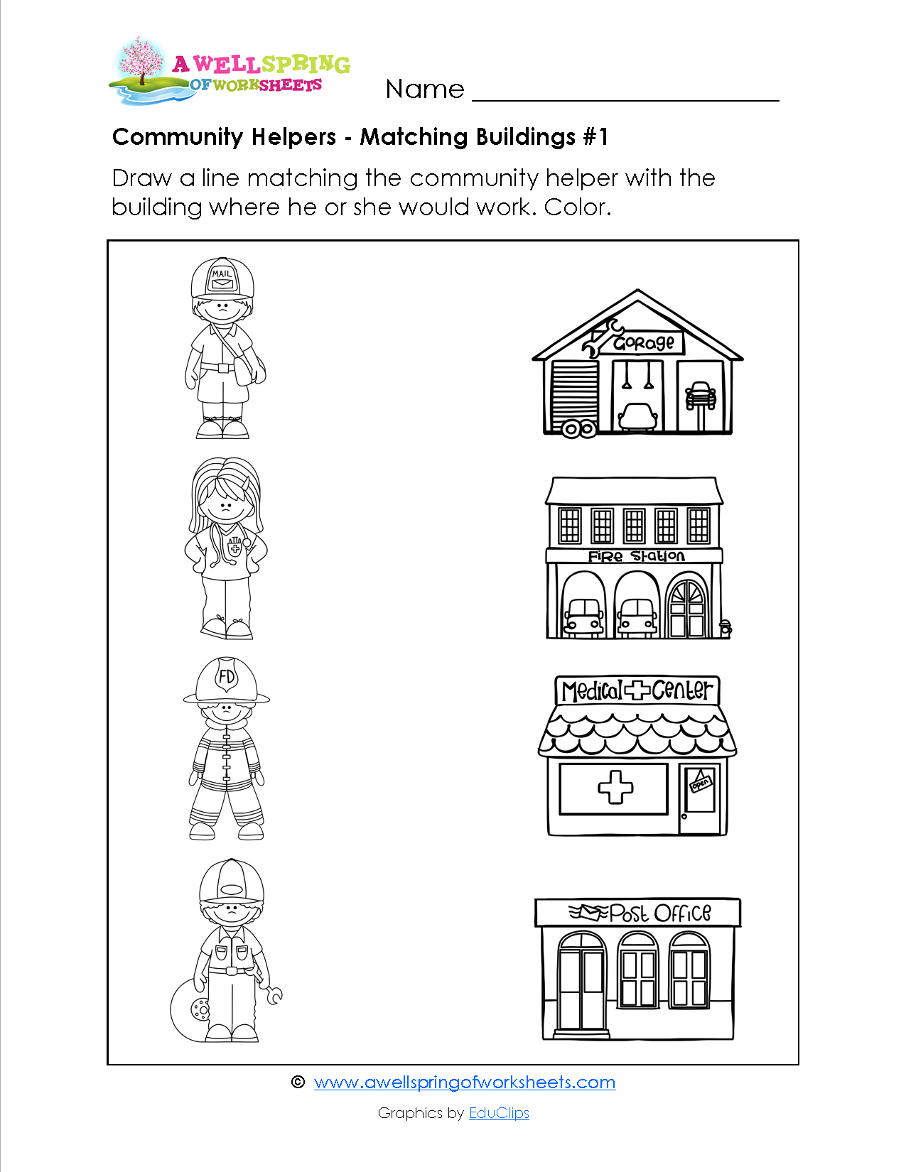 In these Community Helpers matching Worksheets kids draw a line – Community Helper Worksheets