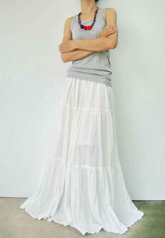 b3f8855c7c NO5 OffWhite Cotton Hippie Gypsy Boho Tiered Long by JoozieCotton, $40.00