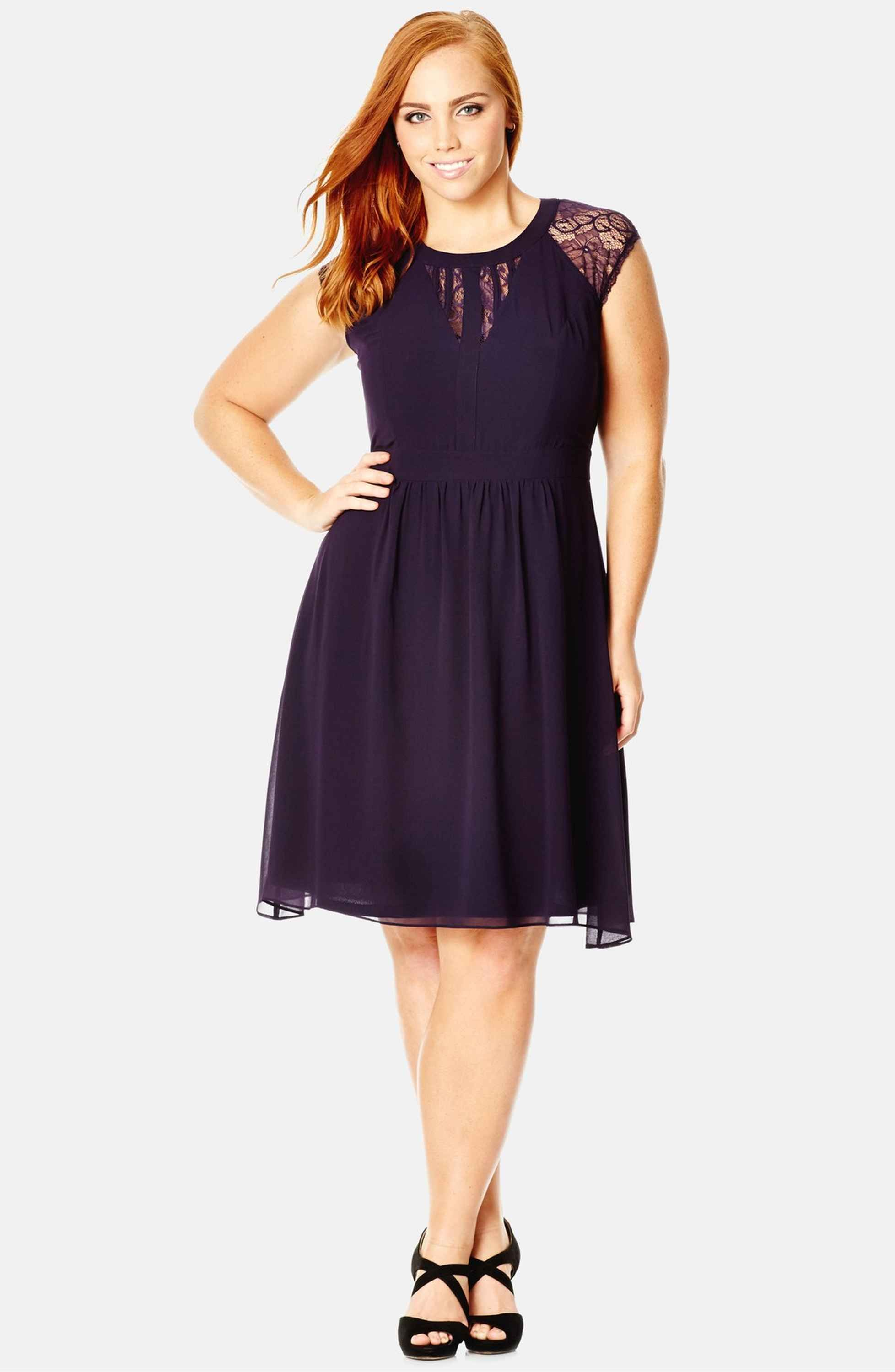 Dark romance lace detail dress city chic lace detail and romance