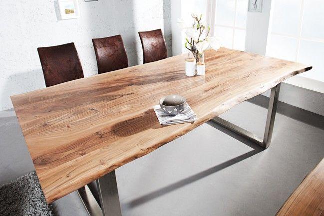 Esstisch Le Design massiver baumstamm tisch mammut 180cm akazie massivholz industrial