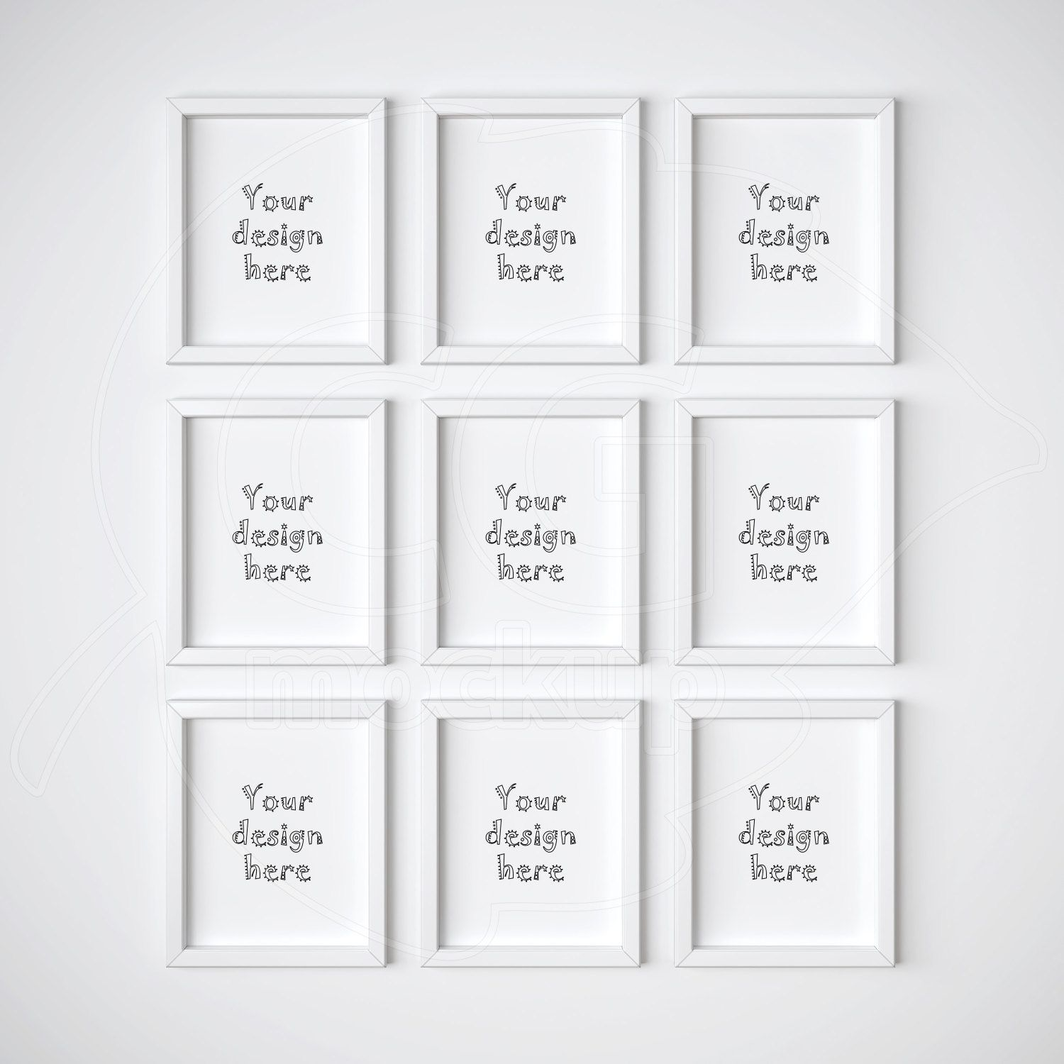8x10 mockup set of 9 frame white frame mockups digital product mock up