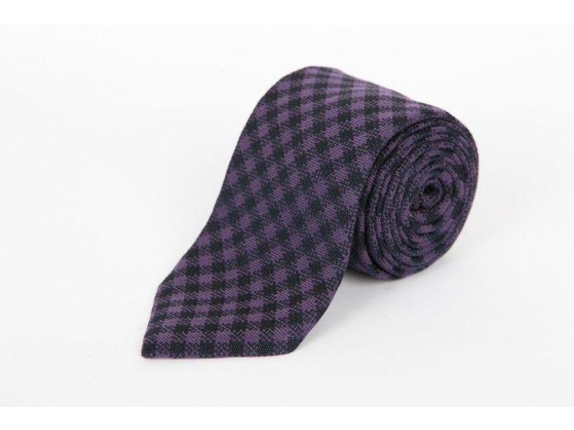 Navy & Purple Gingham tie