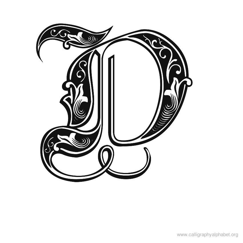 Gothic calligraphy alphabet d g letter