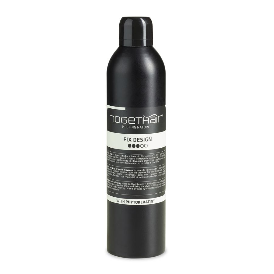 Medium-hold hairspray based on Phytokeratin™, lends structure and support to all hair types, providing shine and fixing the style. It dries quickly and can be styled even after applying. It isn't affected by humidity and can be brushed off quickly and easily. 400ml - €15