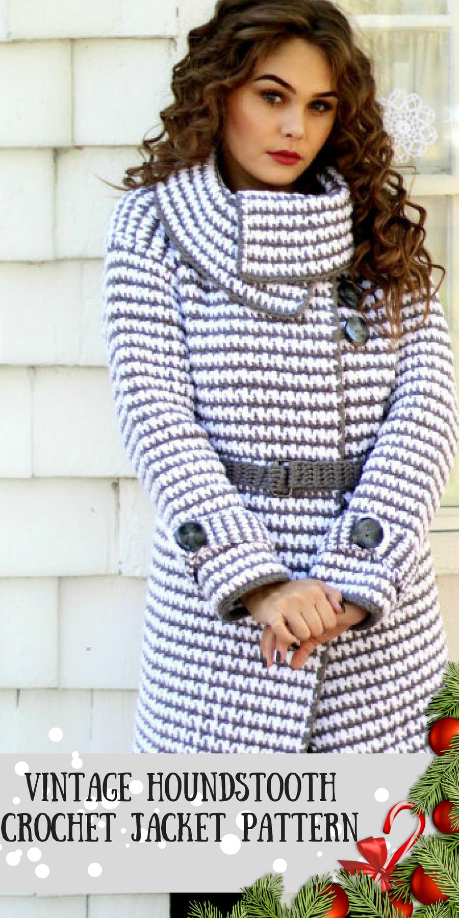 Beautiful vintage crochet houndstooth pattern jacket for women beautiful vintage crochet houndstooth pattern jacket for women absolutely gorgeous how creative crochetjacket dt1010fo
